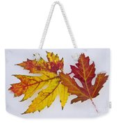 Two Autumn Maple Leaves  Weekender Tote Bag