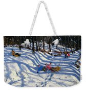 Two Boys Falling Off A Sledge Weekender Tote Bag by Andrew Macara