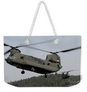 Two Ch-47 Chinook Helicopters In Flight Weekender Tote Bag