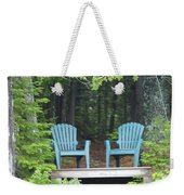 Two Chairs Sit At A Lakeside Camp Weekender Tote Bag