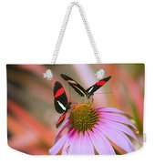 Two Colorful Butterflies On Cone Flower Weekender Tote Bag