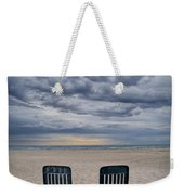 Two Deck Chairs At Sunrise On The Beach Weekender Tote Bag