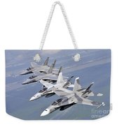 Two Fa-18 Hornets And Two F-15 Strike Weekender Tote Bag
