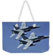 Two Fa-18c Hornets In Flight Weekender Tote Bag