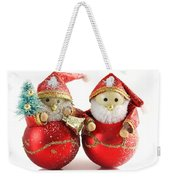 Two Father Christmas Decorations Weekender Tote Bag