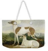 Two Greyhounds In A Landscape Weekender Tote Bag