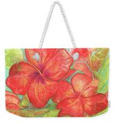 Two Hibiscus Blossoms Weekender Tote Bag