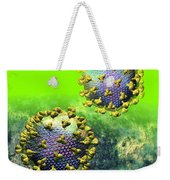 Two Hiv Particles On Bright Green Weekender Tote Bag