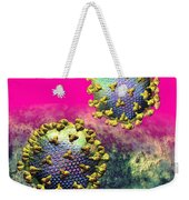 Two Hiv Particles On Hot Pink Weekender Tote Bag