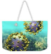 Two Hiv Particles On Light Blue Weekender Tote Bag