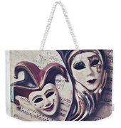 Two Masks On Sheet Music Weekender Tote Bag