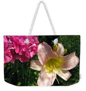 Two Pink Neighbors- Lily And Phlox Weekender Tote Bag