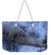 Two Polar Bears Wrestle In The Snow Weekender Tote Bag