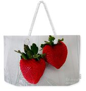 Two Strawberries On A Glass Plate Weekender Tote Bag
