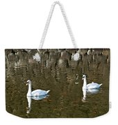 Two Swan Floating On A Pond  Weekender Tote Bag