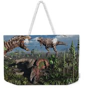 Two T. Rex Dinosaurs Confront Each Weekender Tote Bag by Mark Stevenson