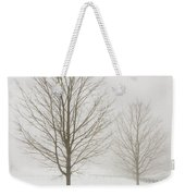 Two Trees And Fence In Winter Fog Weekender Tote Bag