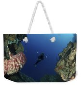 Underwater Photographer At The Entrance Weekender Tote Bag
