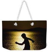Unicycling Silhouette Weekender Tote Bag
