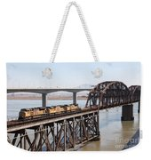 Union Pacific Locomotive Trains Riding Atop The Old Benicia-martinez Train Bridge . 5d18850 Weekender Tote Bag