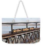 Union Pacific Locomotive Trains Riding Atop The Old Benicia-martinez Train Bridge . 5d18851 Weekender Tote Bag