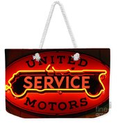 United Motors Service Neon Sign Weekender Tote Bag