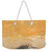 Untitled Abstract - Amber Peach  With Violet Weekender Tote Bag