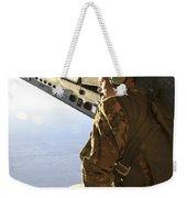 U.s. Air Force Commander Sits Harnessed Weekender Tote Bag