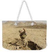 U.s. Air Force Soldier Throws A Frag Weekender Tote Bag