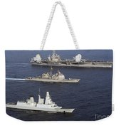 U.s. And French Navy Ships Transit Weekender Tote Bag