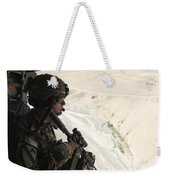 U.s. Army Captain Looks Out The Door Weekender Tote Bag