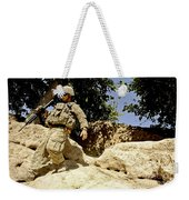 U.s. Army Soldier Climbs Down A Hill Weekender Tote Bag