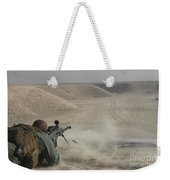U.s. Army Soldier Fires A Barrett M82a1 Weekender Tote Bag