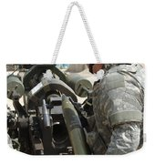 U.s. Army Soldier Loads A 105mm Weekender Tote Bag