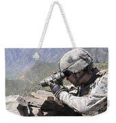 U.s. Army Soldier Monitors An Afghan Weekender Tote Bag