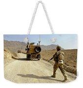 U.s. Army Soldier Moves To His Mrap Weekender Tote Bag