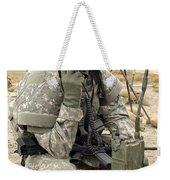 U.s. Army Soldier Performs A Radio Weekender Tote Bag by Stocktrek Images