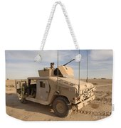 U.s. Army Soldier Pulls Security On Top Weekender Tote Bag