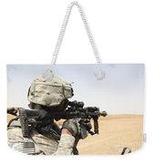 U.s. Army Soldier Scans The Horizon Weekender Tote Bag by Stocktrek Images