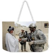 U.s. Army Soldier Shakes Hands With An Weekender Tote Bag
