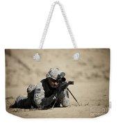 U.s. Army Soldier Sights In A Barrett Weekender Tote Bag