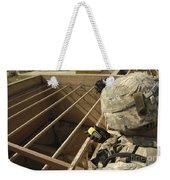 U.s. Army Soldier Takes A Gps Grid Weekender Tote Bag by Stocktrek Images