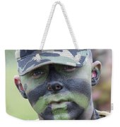 U.s. Army Soldier Wearing Camouflage Weekender Tote Bag by Stocktrek Images