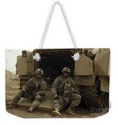 U.s. Army Soldiers Waiting At Patrol Weekender Tote Bag
