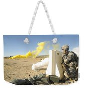 U.s. Army Specialist Calls In For An Weekender Tote Bag