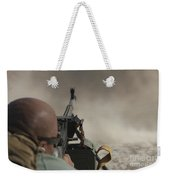 U.s. Contractor Firing The Pkm 7.62 Weekender Tote Bag