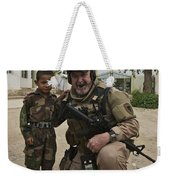 U.s. Contractor Poses For A Picture Weekender Tote Bag