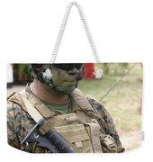 U.s. Marine Communicates Via Radio Weekender Tote Bag