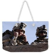 U.s. Marine Gives Directions To Units Weekender Tote Bag