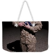 U.s. Marine Holding The American Flag Weekender Tote Bag